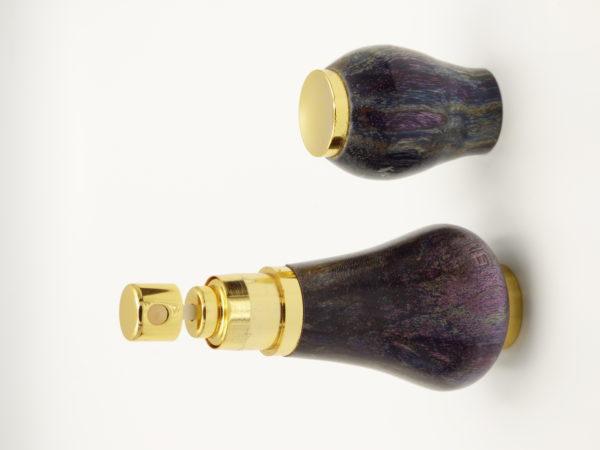 vaporisateur de parfum unique en placage or 10k-en bois d'érable